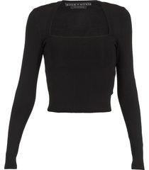 alice + olivia stretch sweater with squared neckline