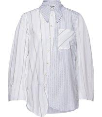 shirting cotton overhemd met lange mouwen multi/patroon ganni