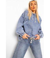 acid wash gebleekte pull over spijkerjas met capuchon, mid blue