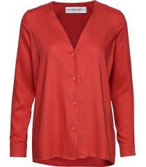 button up shirt blus långärmad röd ivyrevel