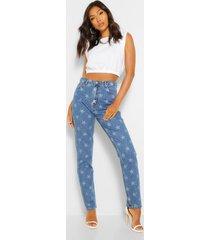 star print over high-waisted mom jeans, dark blue