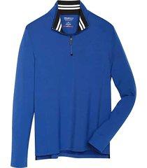 awearness kenneth cole men's awear-tech modern fit long sleeve 1/4 zip shirt bright blue - size: small