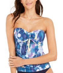 dkny shimmer printed tie-front bandeau tankini top women's swimsuit