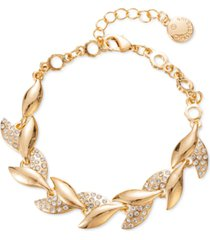 charter club gold-tone pave leaf flex bracelet, created for macy's