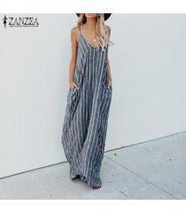 zanzea mujeres del tirante de espagueti de rayas fiesta vestido de tirantes maxi vestido del club de playa -azul