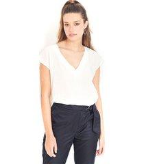 """blusa para dama, cuello en """"v"""" , manga sisa con sutil escote en la parte trasera color-blanco-talla-xl"""
