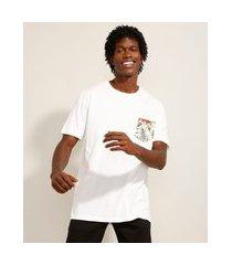 camiseta de algodão com bolso manga curta gola careca branca