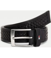 tommy hilfiger men's braided leather belt black - 44