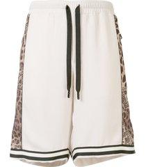 dolce & gabbana leopard-print panelled shorts - brown