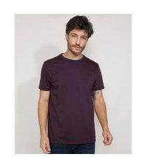 camiseta masculina manga curta maquinetada gola careca vinho