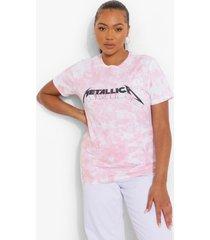 plus gelicenseerd tie dye metallica t-shirt, pink