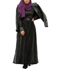 urban modesty women's mesh polka dots maxi dress