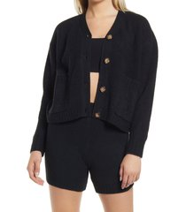 women's topshop button front cardigan, size small - black