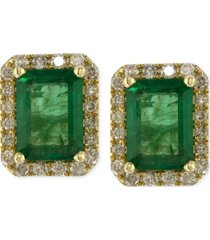 brasilica by effy emerald (1-9/10 ct. t.w.) and diamond (1/4 ct. t.w.) stud earrings in 14k gold, created for macy's