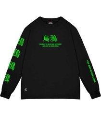 camiseta cuervo icon - longa preto/verde - multicolorido - dafiti