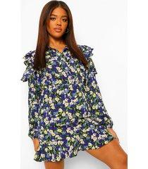 bloemenprint blouse jurk met uitgesneden schouders en ruches, navy