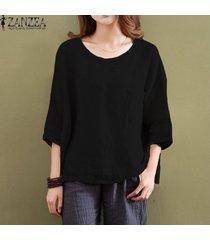 zanzea las mujeres de cuello redondo manga 3/4 tops blusas señoras del verano de algodón ocasional flojo sólido blusa superior de la camisa más el tamaño s-5xl (negro) -negro