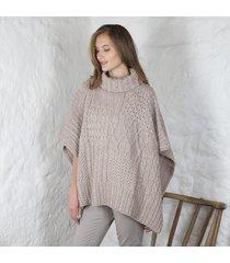 merino wool ladies cowl cape beige