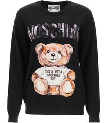 moschino sweater with flocked teddy bear patch