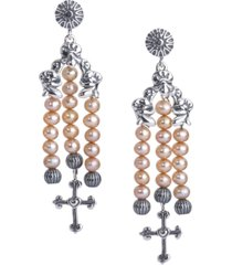 american west freshwater pearl cross drop earrings in sterling silver