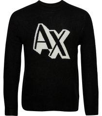 pullover gebreide trui met ronde kraag zwart armani exchange