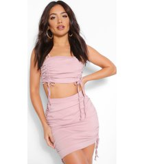 bandeau top en geplooide rok set, blush