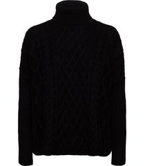 cable cape jumper turtleneck polotröja svart superdry