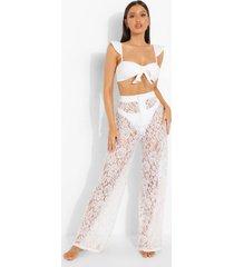 wide leg kanten bride resort broek, white