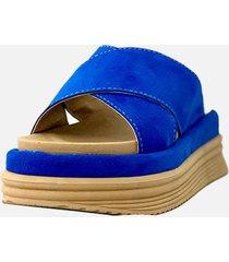 sandalia azul gamuza araquina moma