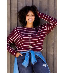 maurices plus size womens maroon stripe straight hem pullover red