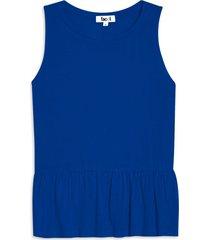 camiseta peplum unicolor color azul, talla 10