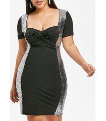 plus size front twist sequin bodycon party dress