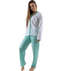 pijama 4 estaã§ãµes com botã£o amamentaã§ã£o manga longa feminino verde - verde - feminino - poliã©ster - dafiti