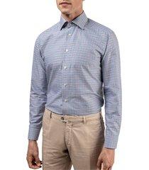 men's eton slim fit check dress shirt, size 17 - purple