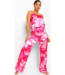 satijnen tie dye hemdje en broek pyjama set, warm roze