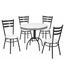 conjunto de mesa de jantar com 4 cadeiras giovana corino branco e preto