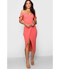 off the shoulder wrap skirt midi dress, coral blush