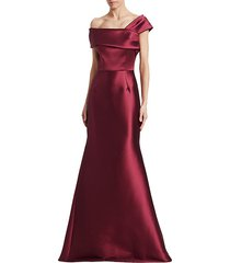 asymmetric off-the-shoulder stretch satin trumpet gown