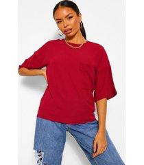 geweven t-shirt met zakdetail, berry