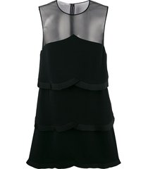 stella mccartney sheer panel layered dress - black