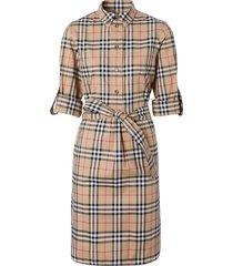 burberry vintage check tie-waist shirt dress - brown
