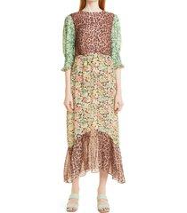rixo mix print silk dress, size small in black green meadow leopard mix at nordstrom