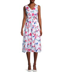 calvin klein women's floral belted dress - porcelain - size 10