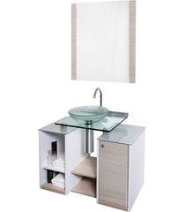 conjunto de gabinete e espelheira com cuba em vidro fit amadeirado
