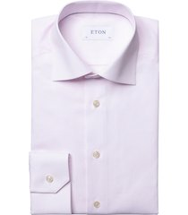 men's big & tall eton contemporary fit check dress shirt, size 18 - pink