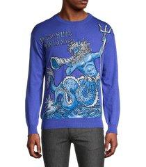 moschino men's scarf-print wool sweater - blue - size 48 (38)