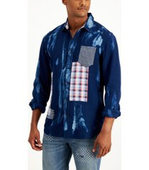 sun + stone men's bleached patched shirt, created for macy's