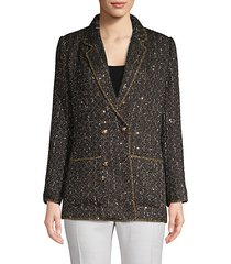 metallic knit tweed blazer