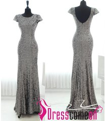 elegant scoop backless v grey long mermaid prom dress/evening/party dresses q32