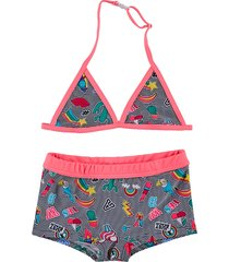just beach gestreepte triangle bikini apple patch stripe